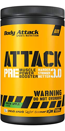 Body Attack Pre Workout Booster PRE ATTACK 3.0 I Muscle Pump Booster I CREAZ, ARGIZ & CitruSyn füllen die Muskel-Energiespeicher I Mehr Kraft, mehr Pump I 600g (Green Apple)