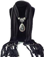 QHGstore Resina larga de la mujer poco Rhinestone bufanda colgante del collar de la bufanda del mantón con el colgante negro