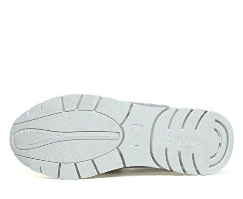 Frühling und Sommer Damen Mesh Reißverschluss Slip on Kurzschaft Schüttelnschuhe Modische Bequeme Dicke Sohle Atmungsaktive Sneakers Weiß