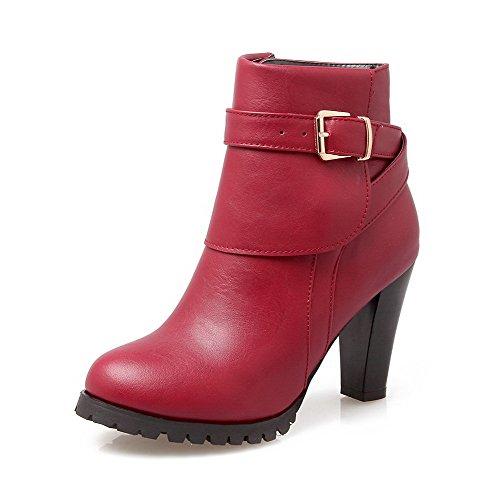 AgooLar Damen Ziehen auf Rund Zehe PU Mitte-Spitze Stiefel mit Metall Nägel, Schwarz, 39