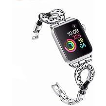 Banda De Reloj De Apple Compatible 38 Mm 42 Mm, Cadena De Joyería De Metal En Forma De U Cuerda De Cuero Correas De Repuesto para Iwatch Bandas Correa para ...