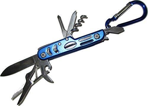 Mini Survival Kit Multitool Überlebensmesser Taschenmesser mit Schere, Flaschenöffner, Kreuzschraubenzieher und Karabinerhaken