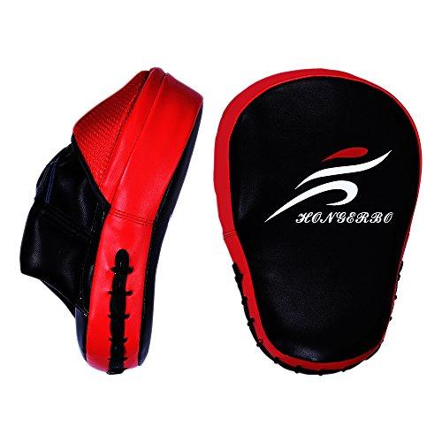 Profi-Handpratze für Kampfsport | vorgekrümmte Schlagpolster | HONG-ER-BO ist eine asiatische Profimarke | vom mehrfachen deutschen Meister im Savatekickboxen empfohlen | Boxen,Kickboxen, Savate u.a.