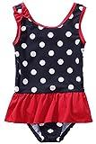 CharmLeaks Baby - Mädchen Einteiler Badeanzug UV-Schutz Dunkelblau & Rot Mit Pünkte 9-12 Monate