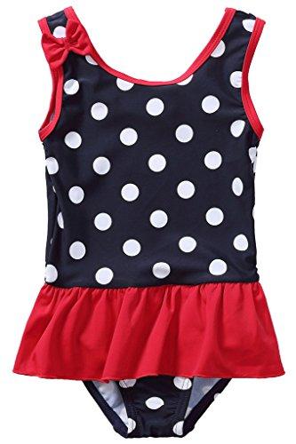 CharmLeaks Baby - Mädchen Einteiler Badeanzug UV-Schutz Dunkelblau & Rot Mit Pünkte 18-24 Monate