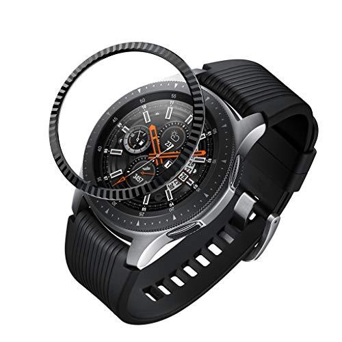 FeiliandaJJ für Samsung Galaxy Watch 46MM King Bezel Uhr Lünette Smartwatch Schutzblende Anti Scratch Metal Geschäft Classic Lünette Ring Schutz Kratzfest (Schwarz)