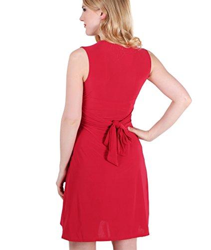 KRISP® Umstandsmode Damen Kleid mit Geknotetem Dekolleté Rot
