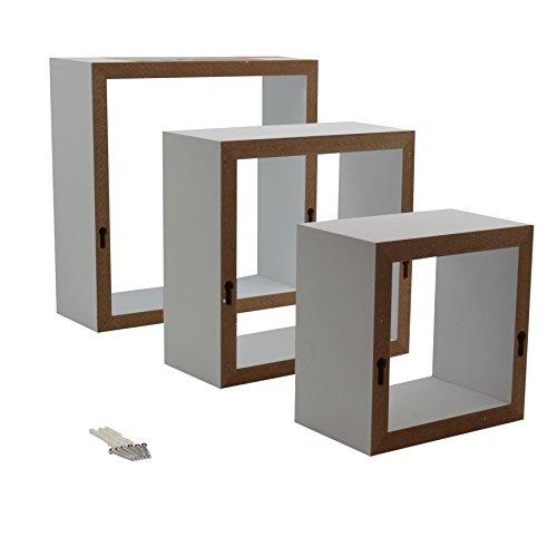 Schwebendes Regal weißes quadrat schwebendes regal 3 verschiedene größen 6er set