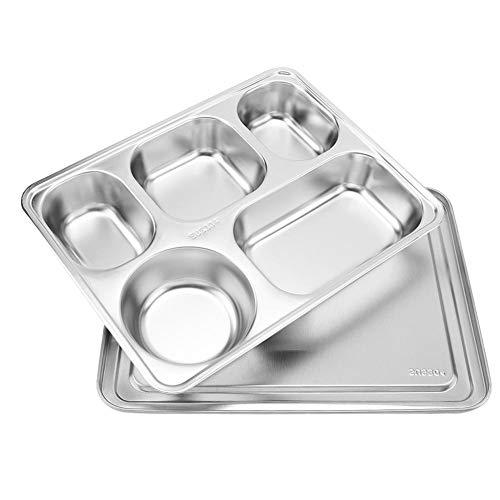 Edelstahl Tablett Lunch Box Kantine Platte Abendessen Stahl Snack Teller mit Deckel geteilt(5 grid)