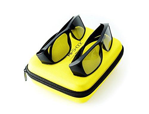 Tv-brille (Hi-SHOCK® 2x passive 3D-Brille für 4K 3D TV 's von LG® Philips®, Grundig®, Löwe®, Sony®, Panasonic®, Toshiba® | kompatibel mit AG-F420 / PTA417 / ZCW000 / ART 32 / TDG500P / TY-EP3D20E / PX1821E-1TVA | inkl. DualCase + 3 Jahre Garantie [ Polarisations-3D-Technologie | 2er-Pack | Schwarz ])