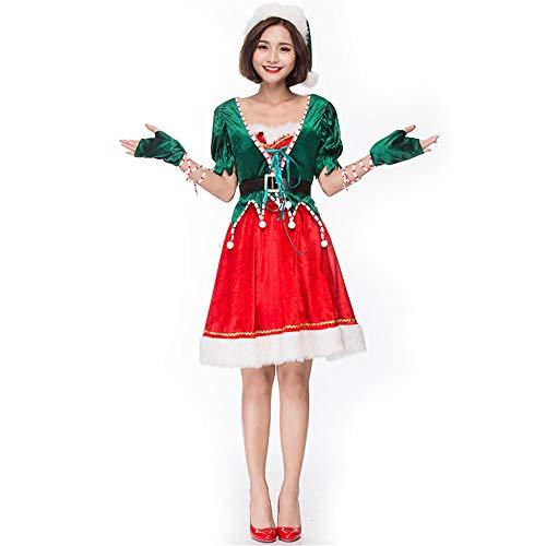 Weihnachtswäsche für Frauen Frauen Elf Kostüm Weihnachten Cosplay Kostüm Deluxe Velvet Holiday Outfits Kurzarm Top Mantel Rock mit Hut Taille Gürtel Handschuhe Sexy roter Babydoll-Body von Santa