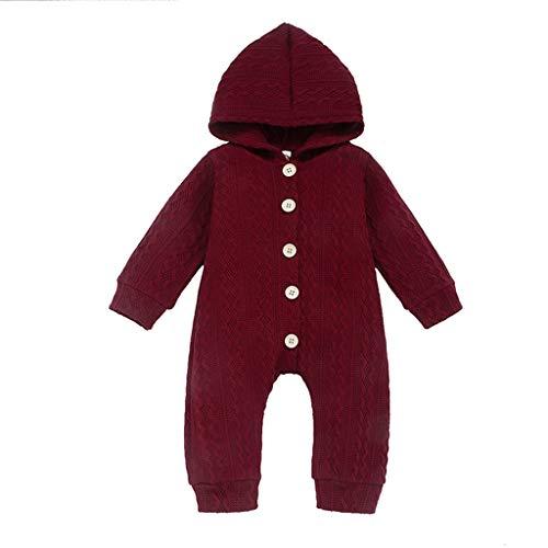 ➤Refill➤ Strampler für Baby-Jungen & Mädchen,Langarm Einfarbig Kapuzen Strampler Spielanzug Mit Knopf Neugeborenen Baby Overall Winter Babykleidung