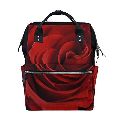 Rote Liebe Rose Blume Große Kapazität Wickeltaschen Mama Rucksack Multi Funktionen Windel Pflege Tasche Tote Handtasche Für Kinder Babypflege Reise Täglichen Frauen (Parfum Für Frauen-coach)