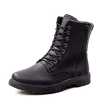 OMG Men Leisure Leather Boots Autumn and Winter The Martin Boots Plus Velvet Keep warm,Black,44