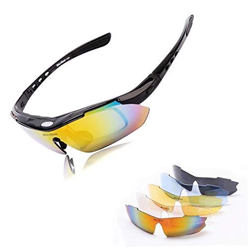 MTSBW Radfahren Brille Sport Siamesische Polarisierte Brille Sonnenbrille/Angeln Ausgeführt,Black