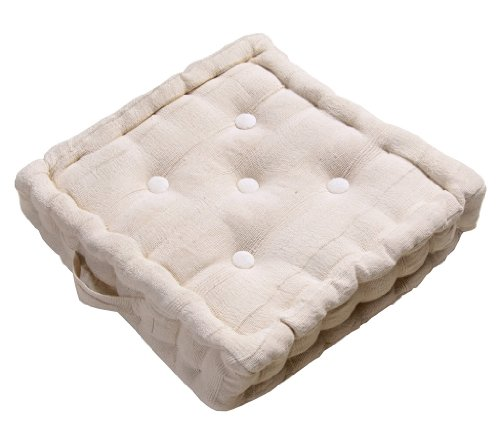 Baumwolle Traditionellen Stuhl (Homescapes Kissen Stuhlkissen Sitzkissen Rajput 40 x 40 cm in Ripp-Optik aus 100% reiner Baumwolle mit Polyesterfüllung in natur)