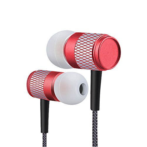 Wired Earphones/In-Ear-Kopfhörer, Stereo-Mikrofon und Fernbedienung mit Noise Isolating High Definition Earbuds Sound und leistungsstarken Bass,für iPhone, iPod, iPad, Samsung (Rot) Sound Isolating Stereo