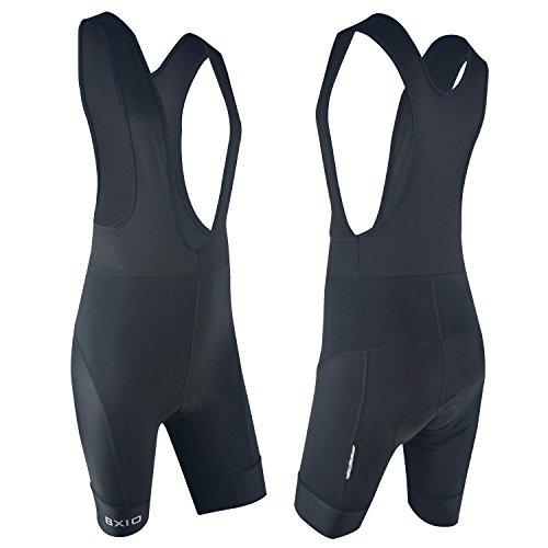 Pantaloncini ciclismo uomo imbottiti, traspirante, leggero 9d gel imbottite pantaloncini bici da ciclismo per montagna bicicletta, nero (black bib shorts, xl)