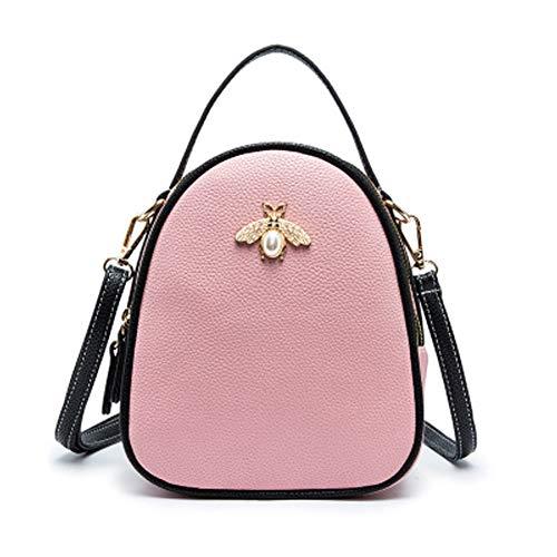 Biene Messenger (Women's Messenger Bag Koreanische Version des Trends der kleinen Biene Umhängetasche Damentasche Kontrastfarbe Dame tragbare Diagonaltasche-Pink)