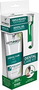 Vet's Best Dentifrice Contre la Plaque/Tartre Dentales avec Kit de Brosse à Dents pour Chien