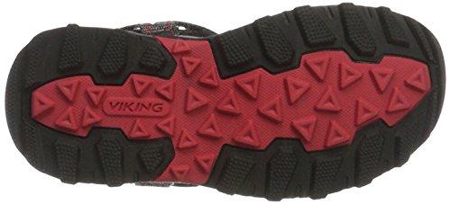 Viking Sandoey, Sandales ouvertes mixte enfant Noir/rouge