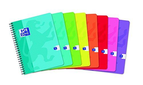 Oxford 100104133 - Quaderno per scuola con rilegatura a spirale Office Classique, 180 fogli a quadretti, confezione da 5 pezzi, 17 x 22 cm, colori assortiti