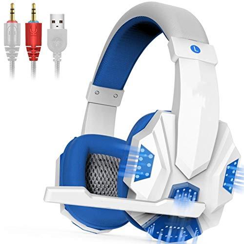 OPmeA Stereo-Gaming-Headset für Xbox One PS4-PC-Surround-Sound-Kopfhörer mit Mikrofon mit Noise Cancelling-LED-Leuchten Headset (Farbe : Weiß) (Razor Surround-sound)