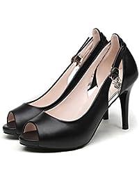Amazon.it  Scarpe Comode Donna - Nero   Scarpe col tacco   Scarpe da ... 206d792a3f3