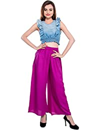 CAY® Purple Color Solid Stylish Plazzo With Elastic Waist And Western Wear ( SIZE : FREE SIZE )