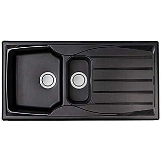 Astracast Sierra 1.5 Bowl Reversible Teflite Kitchen Sink In Black | Waste Kit