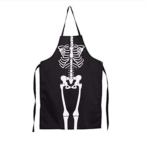 Juabc 1 Stücke Horror Cosplay Koch Chef Küche Halloween Skelett Schürze Kostüm Party Dekoration Lieferungen 80X54 ()