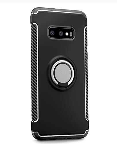 Samsung Galaxy S10e Hülle,die perfekte Kombination aus hartem PC und weichem TPU bietet doppelten Schutz,360 Grad drehbare Halterung Schutzhülle Geeignet für Samsung Galaxy S10e-Schwarz -