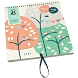 Busy B 5060022555648 Calendrier Familial 2017 Violet/Rose/Vert/Crème/Marine