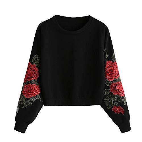 Jaminy Damen Crew Langarm Sweatshirt Damen Sweatshirt mit Rose Applikation Herbst Winter Shirt Pullover S-XL (Schwarz, S)
