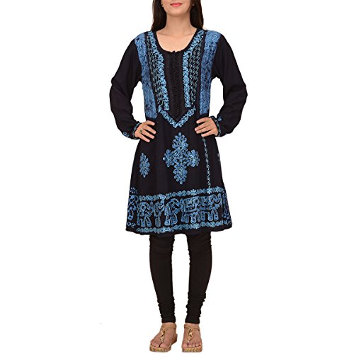 Skirts & Scarves Rayon Long Sleeve embroidered Indian Short Kurtis For Women (Blue)