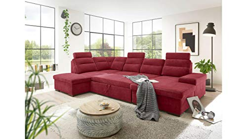 JUSTyou Tallahassee Wohnlandschaft Polsterecke Couchgarnitur (HxBxL): 86x219x324 cm Links Rot