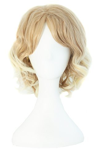 MapofBeauty 30cm/ 12 Pouce Court Bouclé Femmes Bouclé Perruques (Blond/Léger Blond)