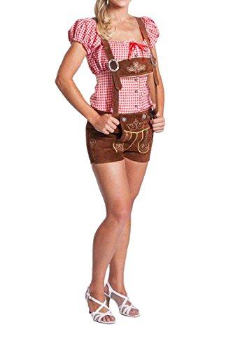 FROHSINN Damen Trachten Lederhose kurz, Trachtenlederhose, Mittelbraun, Größe 34