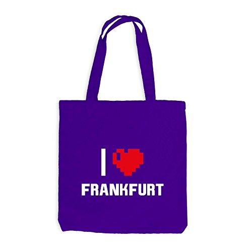 Jutebeutel - Adoro Francoforte - Germania Viaggio Cuore Cuore Pixel Viola