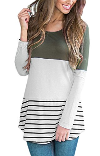 Yidarton Damen Langarm Shirt Bluse Tunika Oberteile Streifen Lace Loose Pullover Lang Sleeve Tops (S, Grün) (Pullover Grüne Streifen)