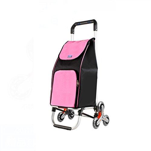 Aluminiumlegierung-Einkaufswagen-Oxford-Tuch-Speicherkorb-älterer kleiner Kleinwagen-zusammenklappbares Haushalts-Gebrauchsfahrzeug-hohe Kapazitäts-Kinder können sitzen (Farbe : Pink) -
