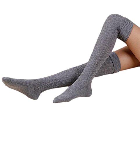 overknee strümpfe Kolylong Frauen Acryl über Knie Leg Wärmer (Grau) (Warmers Acryl-leg)