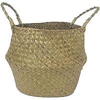 SODIAL Seagrass cesta de cesteria de mimbre plegable colgante maceta de flores maceta sucia de lavanderia