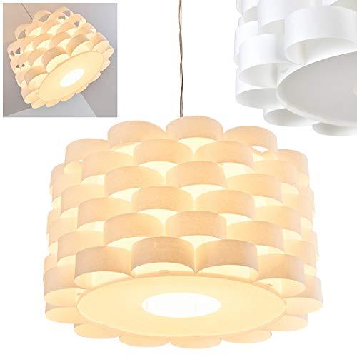 Pendelleuchte Petalax, moderne Hängelampe aus Metall/Stoff in Weiß, Ø 43 cm, Höhe 128 cm, E27 max. 60 Watt, Hängeleuchte geeignet für LED Leuchtmittel