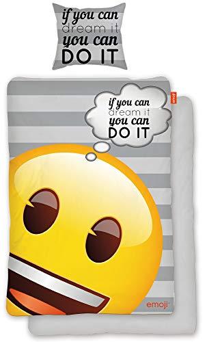 BERONAGE Original Emoji Wende-Bettwäsche Dreams 135 x 200 cm + 80 x 80 cm - 100{ca68e6a8562874bd18248e03d6430bf731c7a384959ce90124e801caf137a5cc} Baumwolle Linon/Renforcé Bettbezug Bettzeug Emojis deutsche Größe EM 082