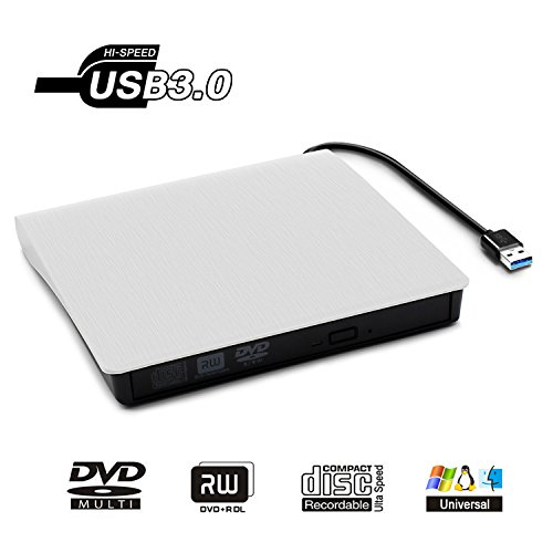 Jirvyuk Lecteur Graveur DVD CD Externe USB 3.0 Graveur de CD-RW DVD-RW Ultra Slim Portable pour Notebook / Desktops Windows 2003/Vista/XP/7/8.1/10/Linux /Mac OS