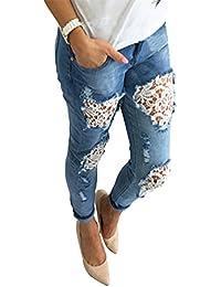 Damen Koucla Jeanshose Skinny Jeans Hose  mit  Häkel Spitze