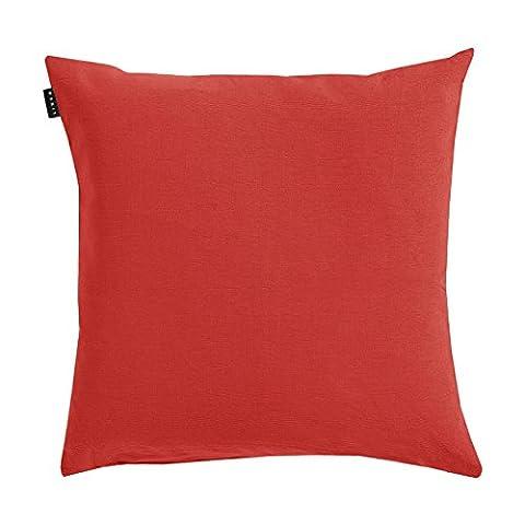 Linum Kissenhülle ANNABELL D02 rot 50cm x 50cm uni 100% glatte Baumwolle mit Reißverschluss