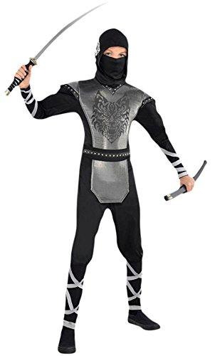 Fancy Ole - Jungen Boy Ninja Kostüm, Karneval, Fasching, Halloween, Schwarz, Größe 164-176, 14-16 Jahre