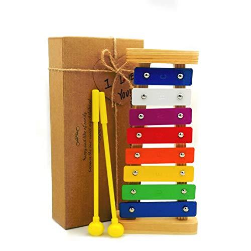 BIBOYELF Xilofono per Bambini Il Primo Regalo di Compleanno per Bambini di età Compresa tra 1-3 Anni Ragazzi Giocattoli Musicali per Bambini di età Compresa tra 4-8 Anni Colorato 8 Nota Metal